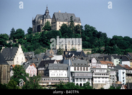 geography / travel, Germany, Hesse, Marburg, view of upper town with landgrave's castle, city view, cityscape, landgrave, , Stock Photo
