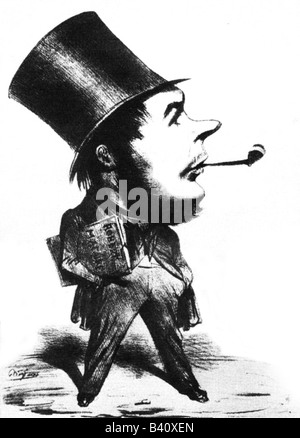 Daumier, Honore, 26.2.1808 - 10.2.1879, French painter, caricaturist, full length, caricature by Benjamin, , Additional - Stock Photo