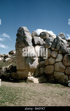 geography / travel, Turkey, Bogazkoey (Hattusa, capital of the Hittites 13th - 18th century BC), lion gate at western - Stock Photo