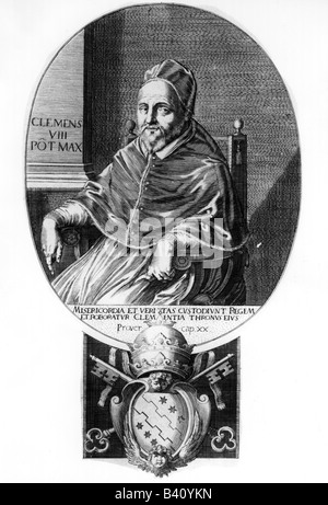 Clement VIII (Ippolito Aldobrandini), 24.2.1536 - 3.3.1605, Pope 30.1.1592 - 3.3.1605, half length, copper engraving, 17th century, , Artist's Copyright has not to be cleared