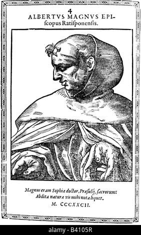 Albertus Magnus, von Bollstadt Count, circa 1193 - 15.11.1280, German theologist and philosopher, portrait, copper - Stock Photo