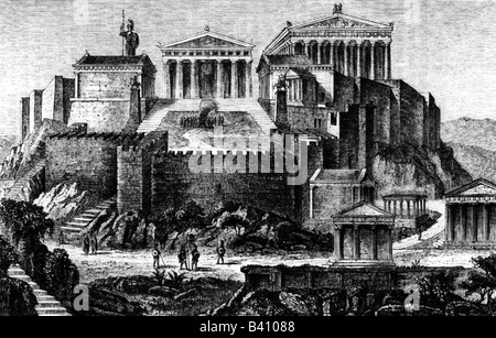 travel / geography, Greece, Athens, Acropolis, view from 4th century BC, reconstruction, engraving, 19th century, - Stock Photo