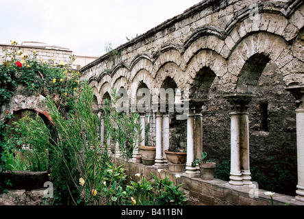 geography / travel, Italy, Sicily, Palermo, cloister San Giovanni degli Erimiti, built 1136 AD under King Roger - Stock Photo