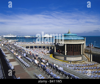 Eastbourne bandstand and pier East Sussex England GB - Stock Photo