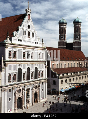 geography / travel, Germany, Bavaria, Munich, churches, Michaelskirche, Neuhauser Strasse, built 1583 - 1597 AD - Stock Photo