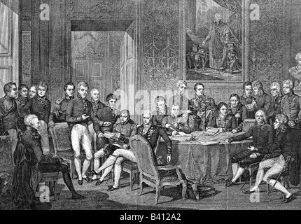 politics, conference, Congress of Vienna, 18.9.1814 - 9.6.1815, assembly of the delegates, 1814, copper engraving - Stock Photo