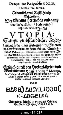 More, Thomas Sir, 7.2.1478 - 6.7.1535, English politician and humanist, work 'Utopia', cover of German version, - Stock Photo
