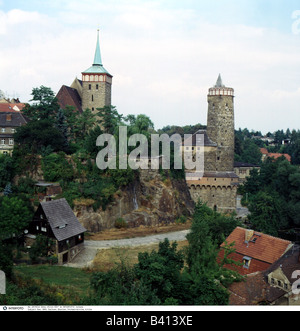 geography / travel, Germany, Saxony, Bautzen, city views / city scapes, the old town, Michaeliskirche and water - Stock Photo