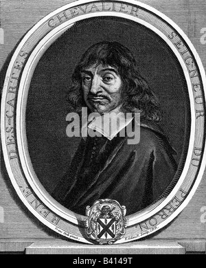Descartes, Rene, 31.3.1596 - 11.2.1650, French philosopher, mathematician and physicist, portrait, narrowed facsimile - Stock Photo