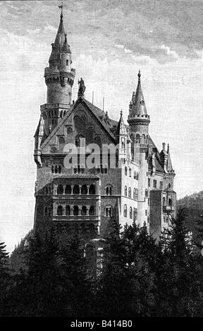 architecture, castles, Germany, Bavaria, Neuschwanstein castle, exterior view, built by Eduard Riedel and Georg - Stock Photo