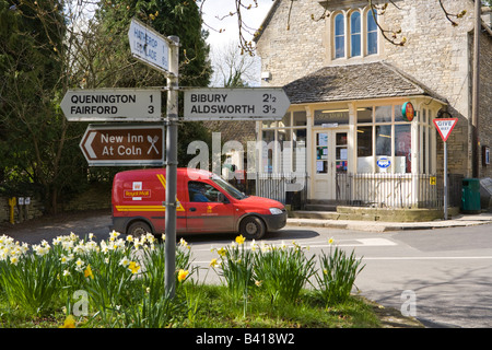 The Post Office and village stores in the Cotswold village of Coln St Aldwyns, Gloucestershire - Stock Photo