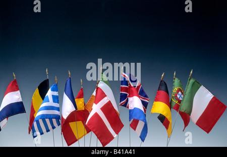 European flags of the European Union states, EU - Stock Photo