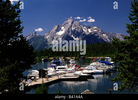 geography / travel, USA, Wyoming, Grand Teton National Park, lake Jackson, Colter Bay, Marina, boat, ship, - Stock Photo