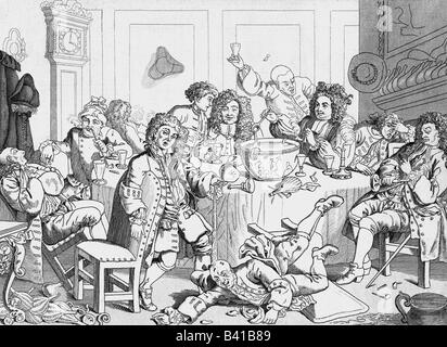 alcohol, punch, caricature, 'A Midnight Modern Conversation', copper engraving by William Hogarth (1697 - 1764), - Stock Photo