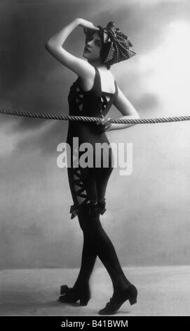 bathing, swimsuit, young woman, wearing swimsuit, studio, 1920, postcard,