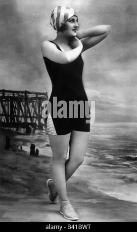 bathing, swimsuit, young woman, wearing bathing suit, on beach, 1920,