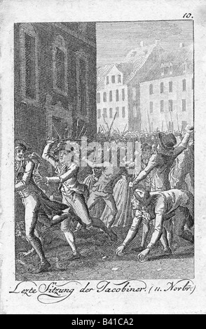 geography/travel, France, Revolution 1789 - 1799, closing of the Jacobin club, Paris 11.11.1794, contemporary engraving, - Stock Photo