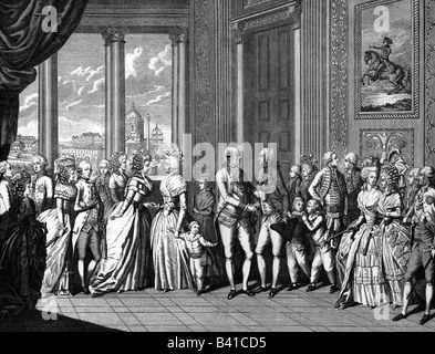 Leopold II, 5.5.1747 - 1.3.1792, Holy Roman Emperor  30.9.1790 - 1.3.1792, witj family, reception of King Ferdinand - Stock Photo