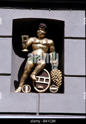 Bacchus, Greek god of wine and fertility, figure at community centre, Wismar, Additional-Rights-Clearances-NA - Stock Photo