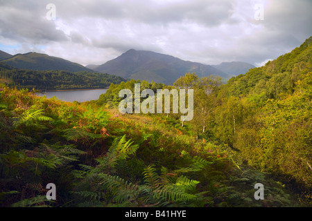 Loch Leven viewed from above North Ballachulish - Stock Photo