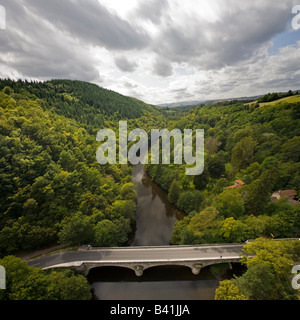 The Sioule Valley seen from the vantage of the Rouzat viaduct (Allier - France). Val de Sioule depuis le viaduc - Stock Photo