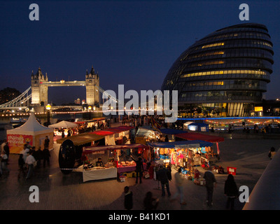 Thames Festival on the riverbank near city hall London United Kingdom - Stock Photo