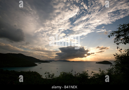 ... Sunset over Maho Bay as seen from the u0027F Tent-Cabinsu0027 at & Sunset over Maho Bay St; John USVI Stock Photo Royalty Free ...