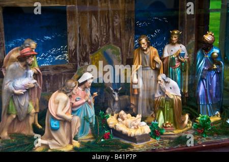 Christmas Nativity scene in Church Derbyshire England - Stock Photo