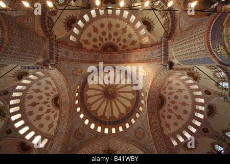 Ceiling of Sultan Ahmed mosque aka Blue Mosque, Istanbul, Turkey - Stock Photo
