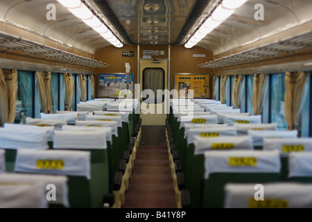 Interior of an empty train carriage in Taiwan - Stock Photo