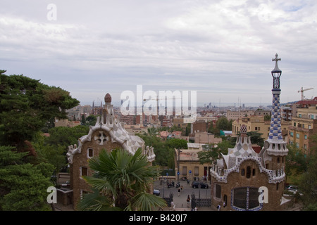 View of the entrance of Parc Guell in Barcelona Spain - Stock Photo