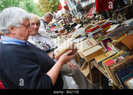mixed collection of books at Lille Braderie France - Stock Photo