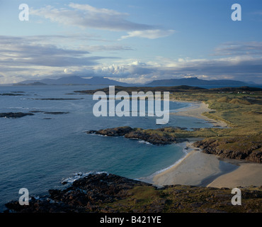 Looking north west over the Atlantic from Sanna bay, Ardnamurchan, Scotland to the islands of Eigg, Rhum, Muck and - Stock Photo