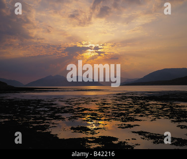 Looking north up Loch Linnhe to Fort William and the Lochaber mountains from Ballachulish, Scotland - Stock Photo