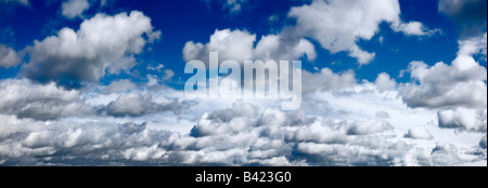 Panoramic image of sky and clouds near Ulgich Russia Russian Federation - Stock Photo
