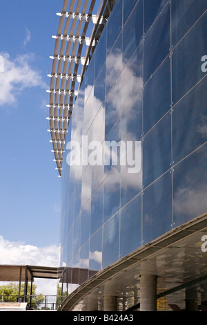 The glass exterior of the Camp Nou football stadium in Barcelona Spain - Stock Photo