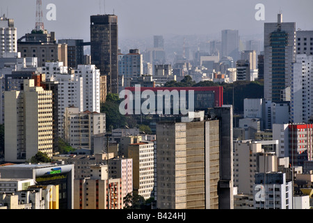 Sao Paulo with MASP at the center view from the rooftop of Italia Building Brazil - Stock Photo