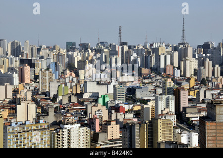 Sao Paulo view from the rooftop of Italia Building Brazil - Stock Photo