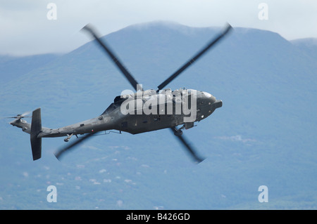 Helicopter Sikorsky UH-60 Black Hawk turning, Elmendorf Air force base, Anchorage, Alaska, Usa - Stock Photo