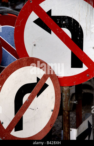 Nowhere to turn. Rusty old signs. - Stock Photo