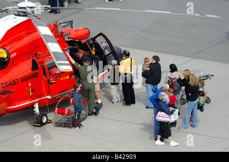 Public visit of Us coast guard helicopter Eurocopter HH-65 Dolphin, Anchorage air show, Alaska, Usa - Stock Photo