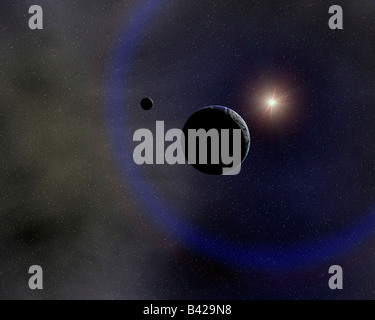 The Earth & Moon In Orbit Around The Sun. - Stock Photo