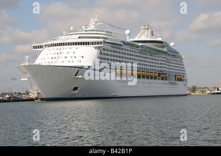 Explorer of the Seas, a cruise ship owned by Royal Caribbean, docked in Bayonne, N. J. - Stock Photo