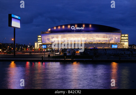 O2 World, with Spree river and East Side Gallery, O2 Arena of the Anschutz Entertainment Group, Berlin Friedrichshain, - Stock Photo
