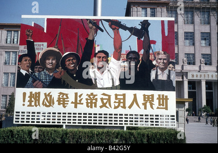 geography / travel, China, politics, slogan poster in Beijing, 1965, Additional-Rights-Clearances-NA - Stock Photo