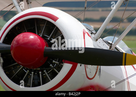 Close-up of propellor, engine and nose of a Team Guinot Boeing PT17 Kaydet Bi-Plane - Stock Photo