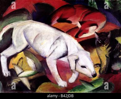 fine arts, Marc, Franz, 8.2.1880 - 4.3.1916, painting, 'Dog, fox and cat', (Hund, Fuchs und Katze), 1912, oil on canvas, Kuns