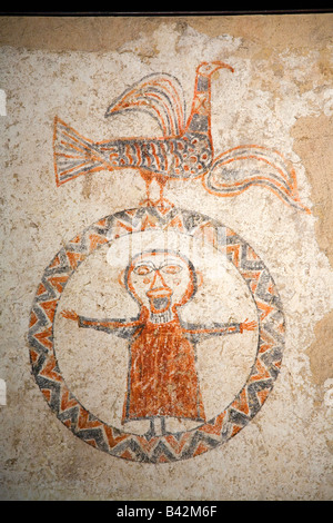 Early fresco images of Jesus in circle at Museum at Solsona, Cataluna, Spain, Museu Diocesà i Comarcal containing - Stock Photo