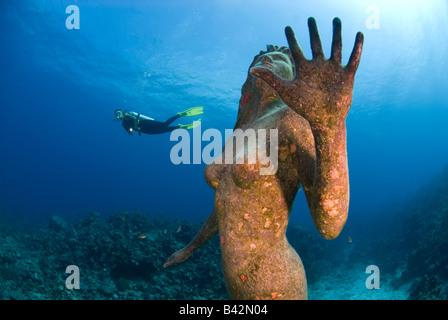 Mermaid Sculpture and Diver Grand Cayman Caribbean Sea Cayman Islands - Stock Photo