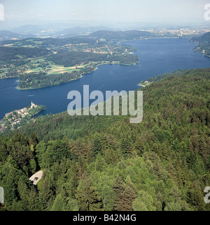 geography / travel, Austria, Carinthia, view of 'Woerthersee' from mountain 'Pyramidenkogel', lake - Stock Photo